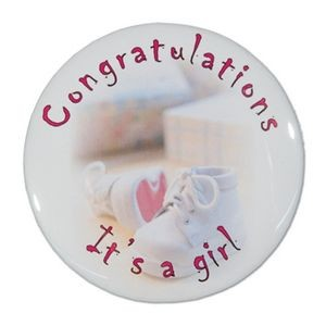 "1½"" Stock Celluloid ""Congratulations It's A Girl"" Button"