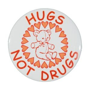"2¼"" Stock Celluloid ""Hugs Not Drugs"" Button"