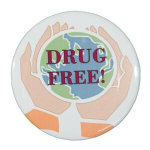 "2¼"" Stock Celluloid ""Drug Free"" Button"