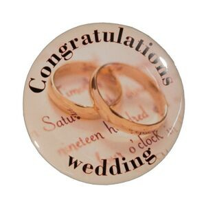 "2¼"" Stock Celluloid ""Congratulations Wedding"" Button"