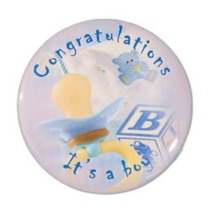 "1½"" Stock Celluloid ""Congratulations It's A Boy"" Button"