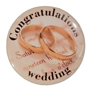 "1½"" Stock Celluloid ""Congratulations Wedding"" Button"