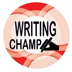 "1½"" Stock Celluloid ""Writing Champ"" Button"