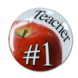 "2¼"" Stock Celluloid ""#1 Teacher"" Button"