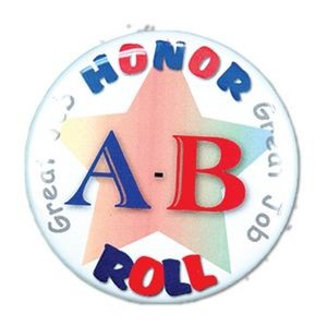 "1½"" Stock Celluloid ""A-B Honor Roll"" Button"