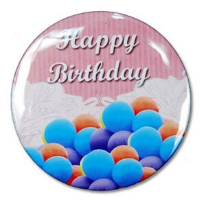 "2¼"" Stock Celluloid ""Happy Birthday"" Button (Pink)"