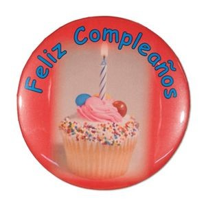 "2¼"" Stock Celluloid ""Feliz Cumpleanos"" Button"