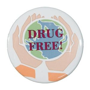 "1½"" Stock Celluloid ""Drug Free"" Button"