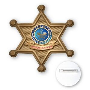 "Button-Sheriff Badge Star Shape Plastic Button (3"")"